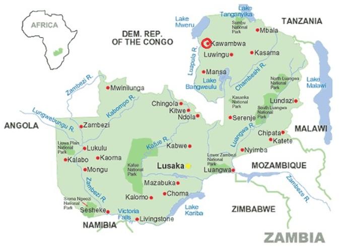 Zambia plattegrond met rondje